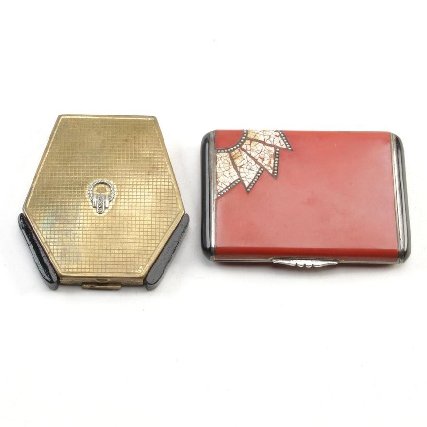 German Art Deco Sterling and Egg Shell Lacquer Cigarette Case with Compact