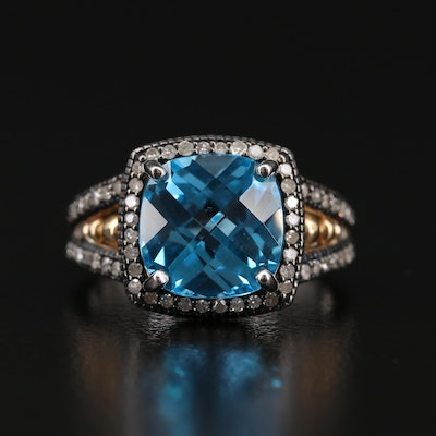 Sterling Silver Blue Topaz Ring with 10K Yellow Gold and Diamond Accents