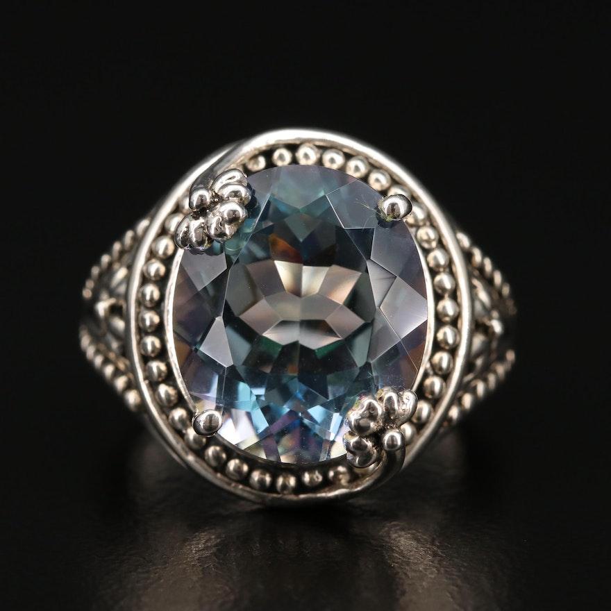 Sterling Silver Quartz Ring with Granulation Design