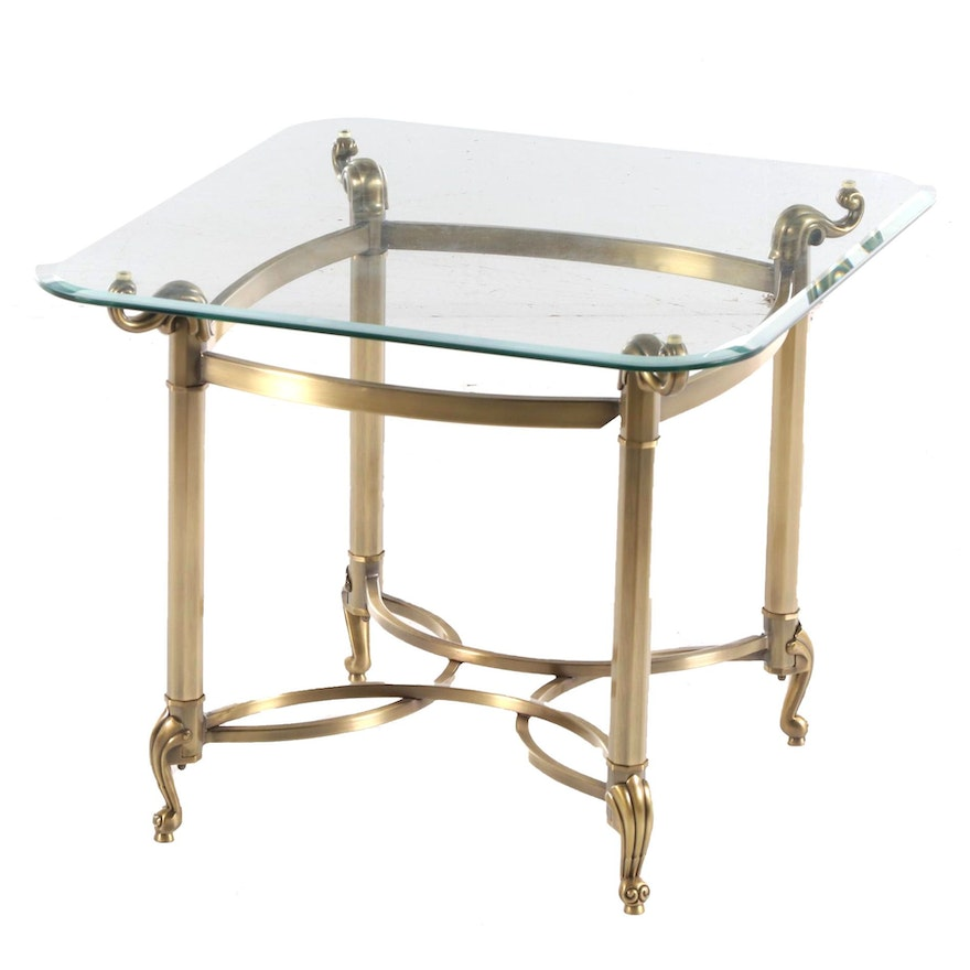 Brass-Patinated Metal and Glass Top Side Table, Late 20th Century