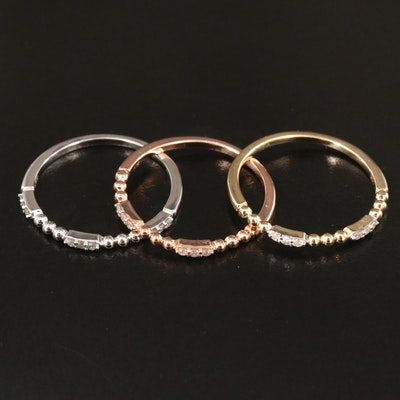 10K Tri-Color Gold Diamond Stackable Rings with Rose Gold