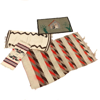Handwoven Wool Accent Rugs and Hand-Hooked Pictorial Dog Rug