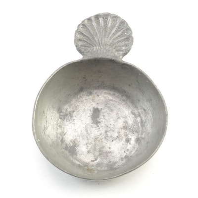 European Pewter Porringer with Scallop Shell Handle