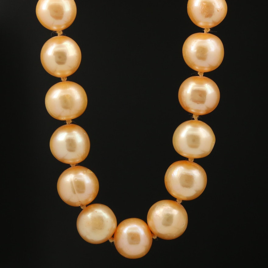 Yellowish Orange Pearl Necklace with 14K Clasp