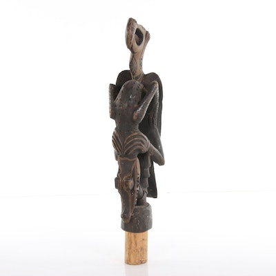 Sepik River Wood Carved Sculpture with Bird and Crocodile Motif, 20th Century