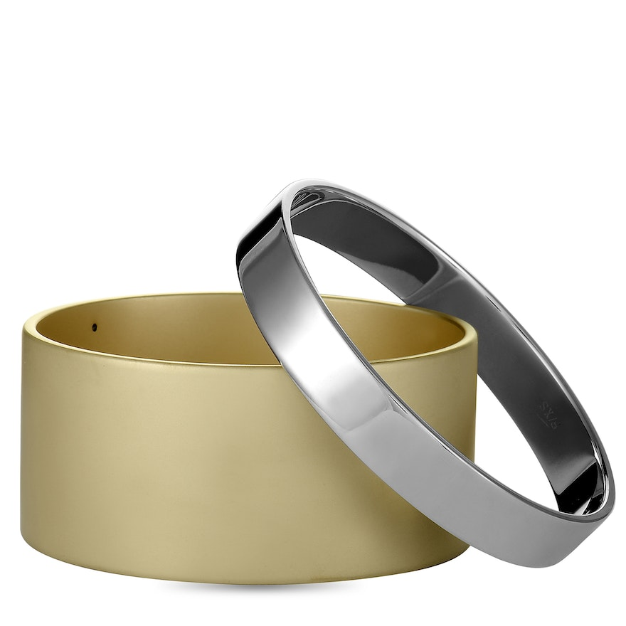Calvin Klein Satisfaction Yellow PVD-Plated Stainless Steel Bangle Bracelet Set