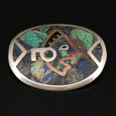 Mexican Sterling Silver Stone Inlay Converter Brooch