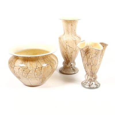 "Krosno ""Jozefina"" Handblown Polish Glass Vases"