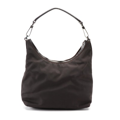 Gucci Small Shoulder Bag in Dark Brown Nylon with Leather Trim