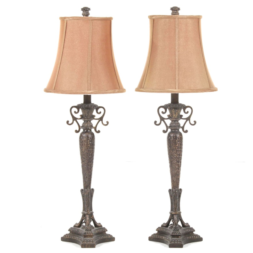 """Pair of """"Niles"""" Reptile Patterned Bronze Finish Buffet Lamps"""