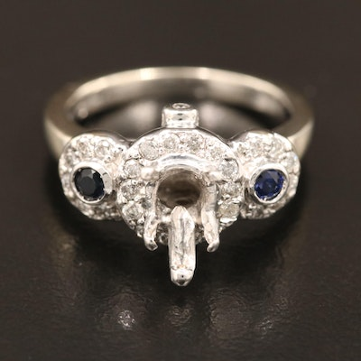 14K Diamond and Sapphire Semi-Mount Ring
