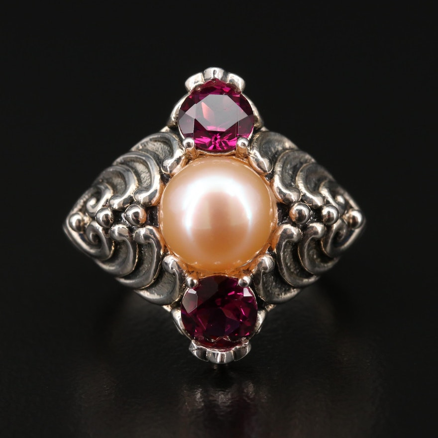 Sterling Silver Cultured Pearl and Rhodolite Garnet Ring