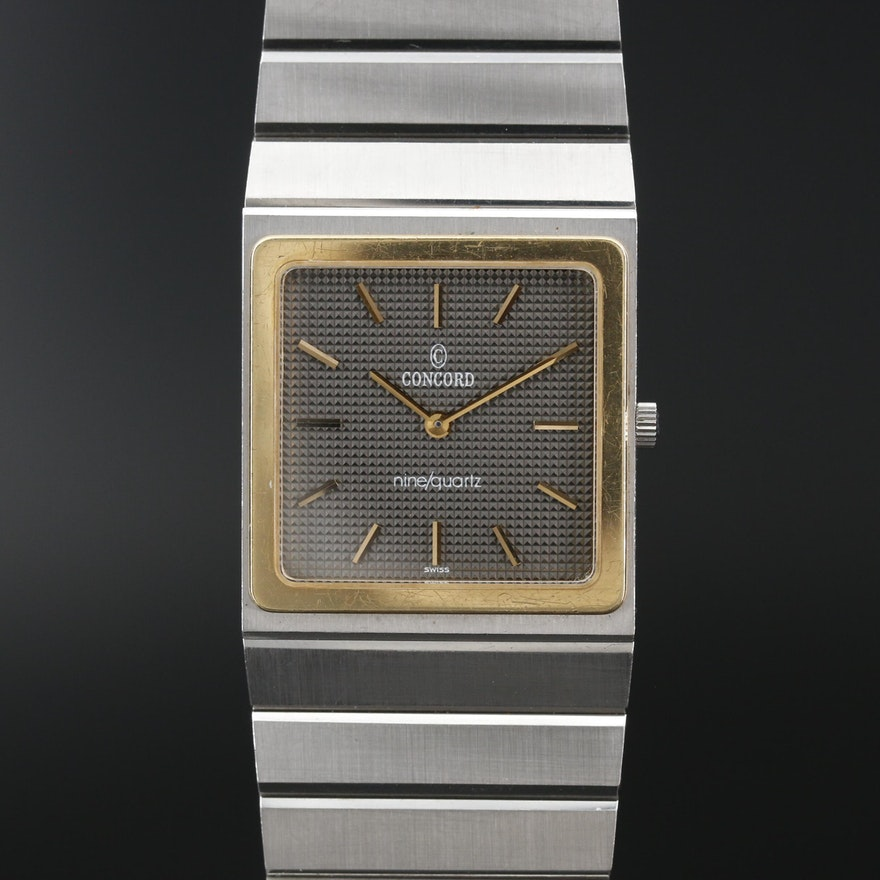 Concord Mariner SG 18K and Stainless Steel Quartz Wristwatch, Vintage
