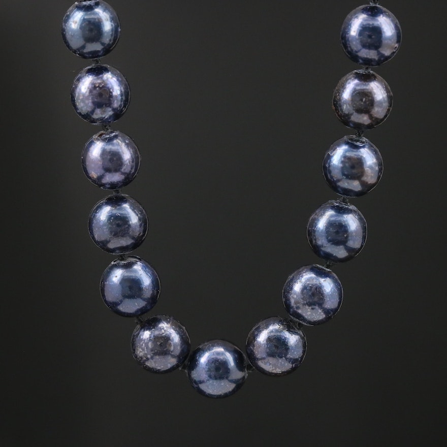 Blue Pearl Knotted Necklace with 14K Clasp