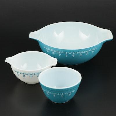 """Pyrex """"Snowflake"""" Cinderella Bowls and Mixing Bowl, 1972–1975"""