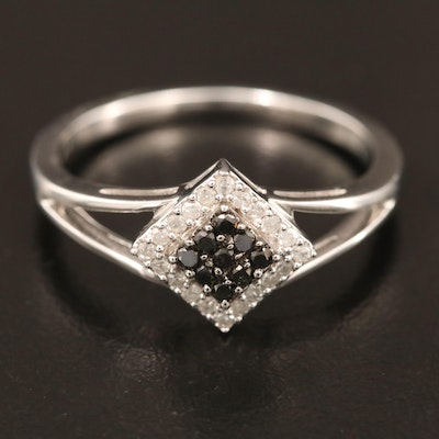 14K Geometric Diamond Cluster Ring with Black Diamonds