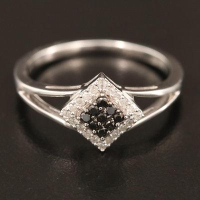 14K Geometric Diamond Cluster Ring with Black Diamonds