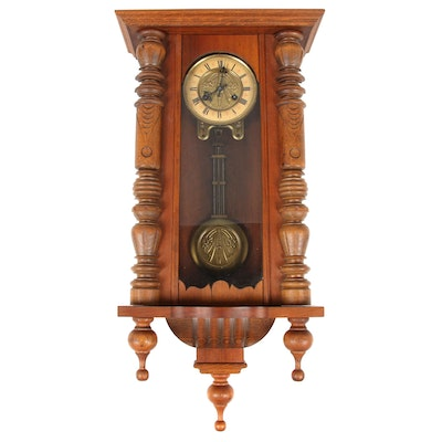 Carved Wood Wall Clock, 20th Century