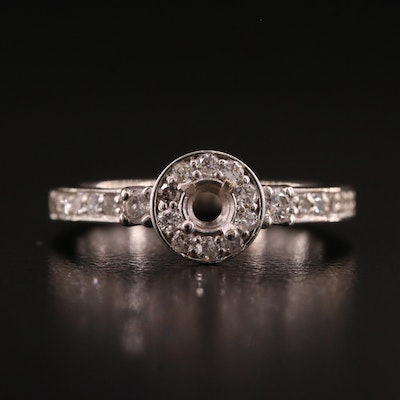 14K Diamond Semi-Mount Halo Ring