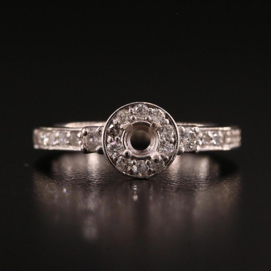 14K Diamond Semi-Mount Halo Ring