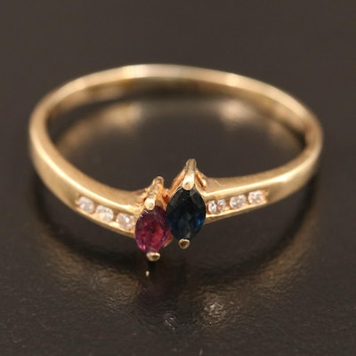 14K Ruby, Sapphire and Diamond Ring