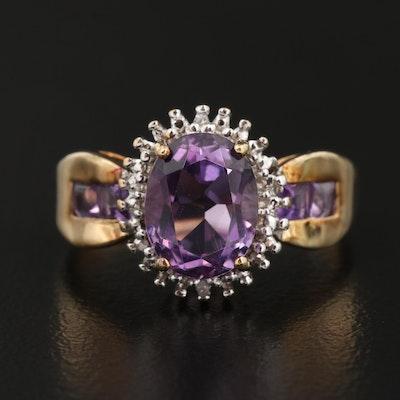 10K Amethyst and Diamond Ring