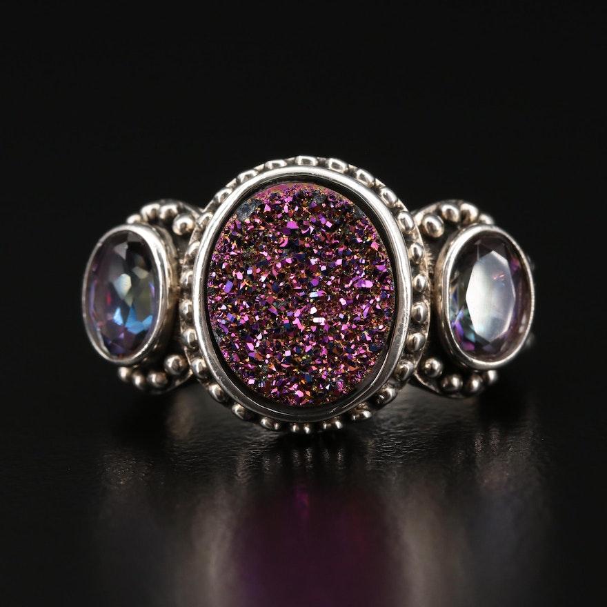 Sterling Silver Druzy Quartz Ring with Quartz Accents