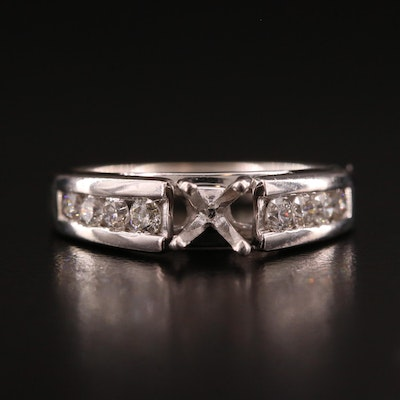 14K White Gold Channel Set Diamond Semi Mount Ring