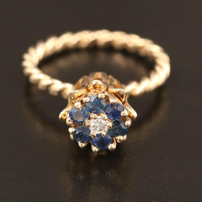 Vintage 14K Gold Blue Sapphire and Diamond Ring with Tulip Setting