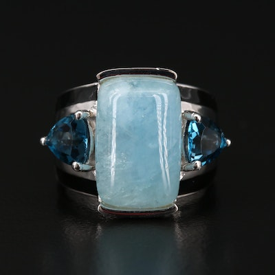 Sterling Silver Topaz and Aquamarine Ring