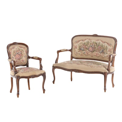 Chateau D'ax Louis XV Style Beech Settee and Fauteuil, Late 20th Century