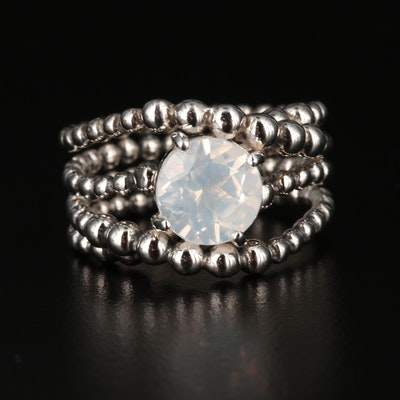 Michael Dawkins Quartz and Sterling Silver Bead Ring