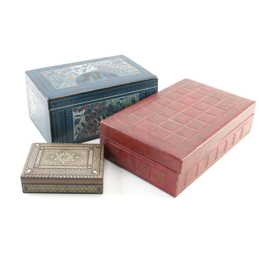 Smith Crafted Leather-Wrapped Box and Other Decorative Boxes