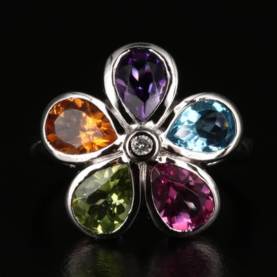 Sterling Silver Ring with Multi-Colored Gemstones