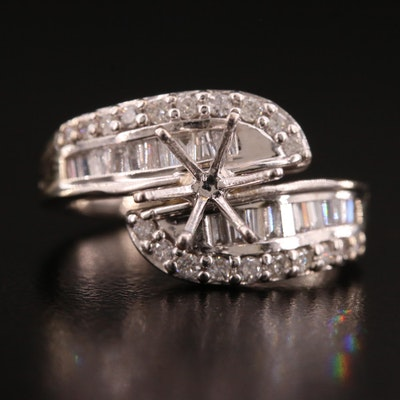 14K Diamond Bypass Style Semi Mount Ring