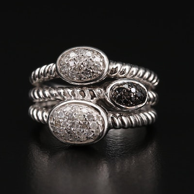 Sterling Silver Diamond Ring with Stacked Design