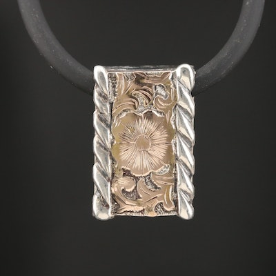 Sterling Silver Patterned Pendant on Cord