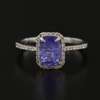 14K Tanzanite and Diamond Halo Ring