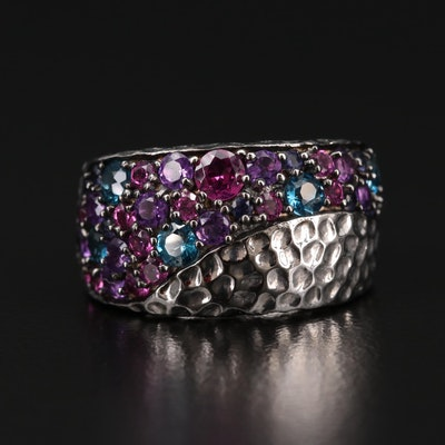Sterling Silver Topaz, Amethyst and Garnet Hammered Ring