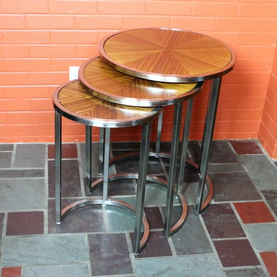 Chrome and Sunburst Wood Veneer Nesting Tables