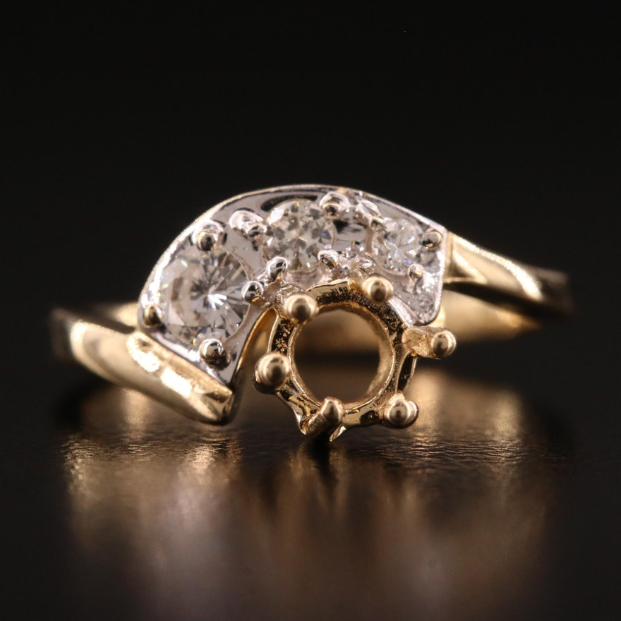 14K Diamond Semi Mount Ring