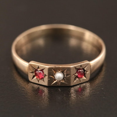 Victorian 10K Seed Pearl and Red Glass Ring