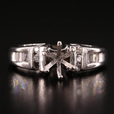 14K 0.42 CTW Diamond Semi Mount Ring