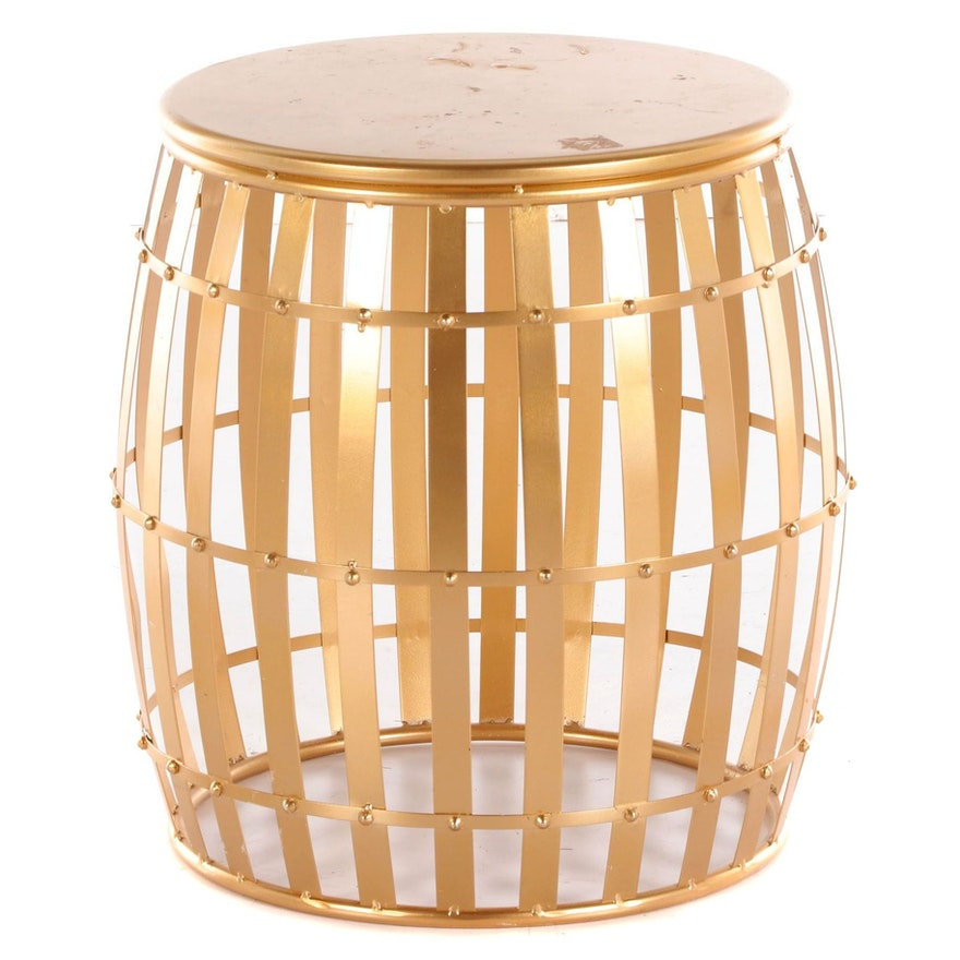 Gold Tone Metal Drum Side Table