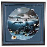 """Robert Wyland and Roy Tabora Large Scale Cibachrome Print """"Dolphin Moon"""", 1993"""