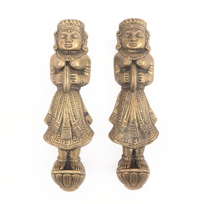 Pair of Southeast Asian Brass Figural Door Furniture Pulls