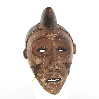 Marka Style Wood Carved Mask with Metal Embellishments, 20th Century