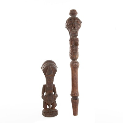 Songye Wood Carved Figural Sculptures, 20th Century