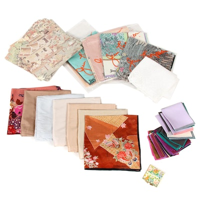 Belgium Linen with Lace and Jim Thompson Thai Silk Scarves and Handkerchiefs