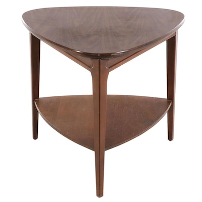 "Mersman Mid Century Modern Walnut ""Guitar Pick"" End Table"